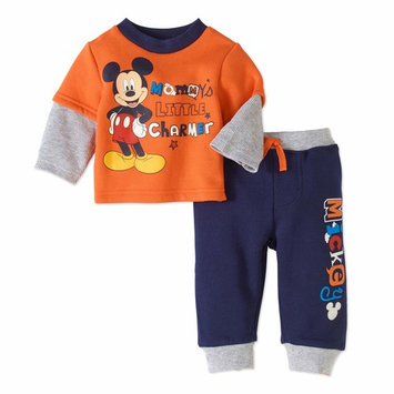 born Baby Boy Hangdown Long Sleeve T-Shirt and Pant 2pc Outfit Set