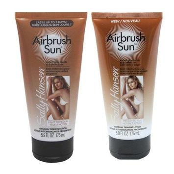 Sally-Hansen Airbrush Legs Sun Gradual Tanning Lotion, Light and Medium to Tan Sunless Tanning Kit with Dimple Bracelet
