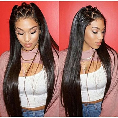 Foxy's Hair 13x6 Lace Frontal Wig Long Straight Human Hair Brazilian Virgin Human Hair Frontal Lace Wigs PrePlucked Baby Hair(18 inch)