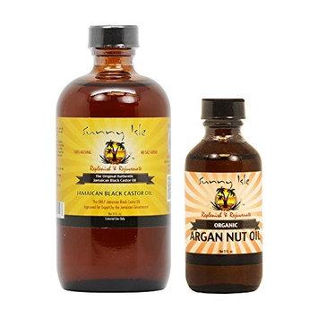 Sunny Isle Jamaican Black Castor Oil 8 oz & Organic Argan Oil 2 oz