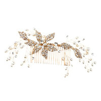 Baoblaze Glistening Gold Crystal Bridal Wedding Prom PartyHair Side Comb Hair Pins Accessory - Gold Style2, as described