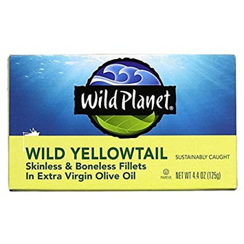 Wild Planet Skinless Boneless Yellow Tail Fillets in Extra Virgin Olive Oil, 4.4 Ounce (Pack of 12)