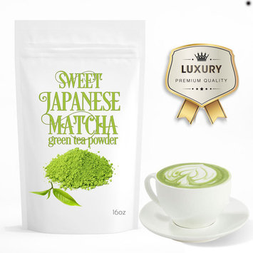 Sweet Japanese Matcha (16oz) Green Tea Powder. Perfect for making latte, frappe and smoothies.