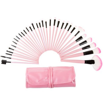 Trademark Global Games Professional Makeup Brush Set (12, 24, or 32 Piece)- Includes Foundation Eyeshadow Eyeliner Eyebrow Concealer Lip Brushes by Everyday Home- Pink