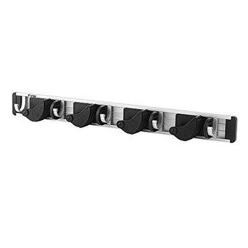 Firlar Wall Mount Mop and Broom Holder Aluminium Alloy Organizer Garage Storage Solutions Mounted 4 Position 5 Hooks for Shelving