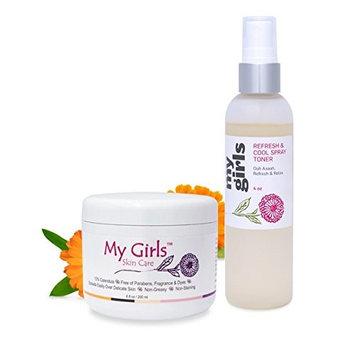 6.8 Oz Calendula Radiation Burn Relief & Wound Healing Skin Care Cream Plus 4 Oz Cooling Calendula-Rose Skin Relief Spray