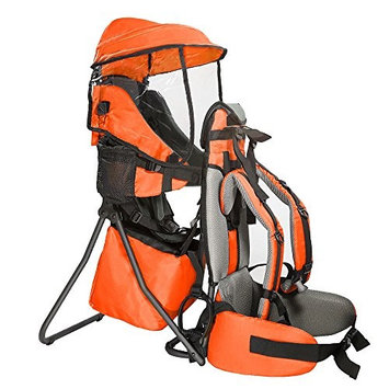 Clevr Cross Country Baby Backpack Carrier with Stand and Sun Visor Shade Child Kid Toddler, Orange, Upgraded Foot Straps   Lightweight - 5lbs