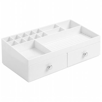 J & M Home Fashions 37462 White 2-Drawer Cosmetic Vanity Organizer