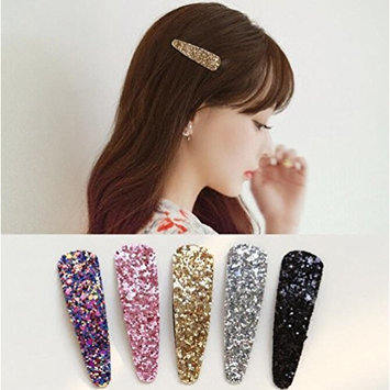 5PCS Multi Color Shiny Snap Hair Sequins Clips with Pattern Girls No Slip Barrettes with Clips for Toddlers Kids Women Accessories (Color Random)