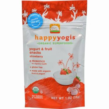 Happy Baby Happy Yogis Organic Superfoods Yogurt And Fruit Snacks Strawberry - 1 Oz - Pack of 8