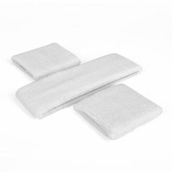 GOGO Thick Solid Color Sweatband Set (1 Headband + 2 Wristbands), Price for ONE DOZEN-White