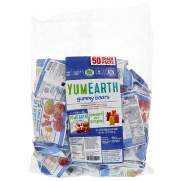 YumEarth, Gummy Bears, Assorted Flavors, 50 Snack Packs, 0.7 oz(pack of 3)