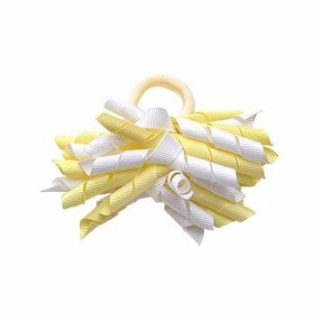 Yellow White Korker Ribbon Girls Ponytail Holder