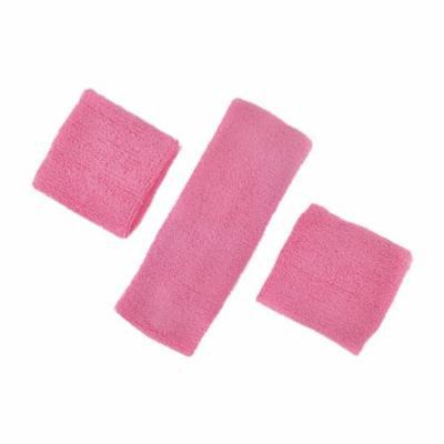 GOGO Thick Solid Color Sweatband Set (1 Headband + 2 Wristbands)-Pink