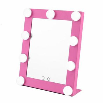 Led Bulb Vanity Lighted Hollywood Makeup Mirror with Dimmer Stage Beauty Mirror Pink