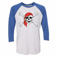 Jolly Roger Pirate Flag 3/4 Raglan Tee Jersey Royal / White X-Large
