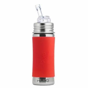 Pura Kiki 11 oz / 325 ml Stainless Steel Straw Bottle with Silicone Straw & Sleeve, Orange (Plastic Free, NonToxic Certified, BPA Free)