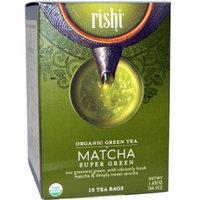 Rishi Tea, Organic Green Tea, Matcha Super Green, 15 Tea Bags 1.43 oz(pack of 6)
