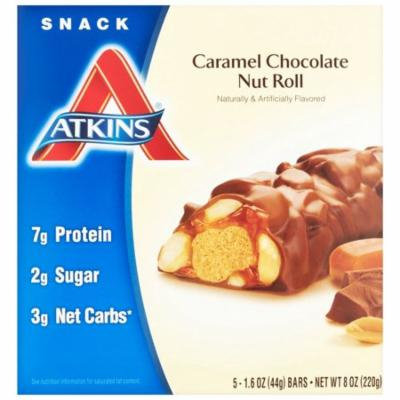 Atkins, Advantage, Caramel Chocolate Nut Roll, 5 Bars, 1.6 oz Each(pack of 12)