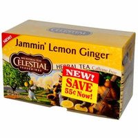 Celestial Seasonings, Herbal Tea, Jammin' Lemon Ginger, Caffeine Free, 20 Tea Bags, 1.6 oz(pack of 4)