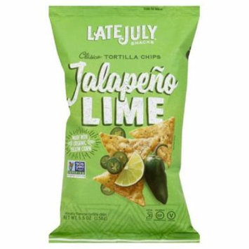 Late July Jalapeno Lime Clasico Tortilla Chips, 5.5 Oz (Pack of 12)
