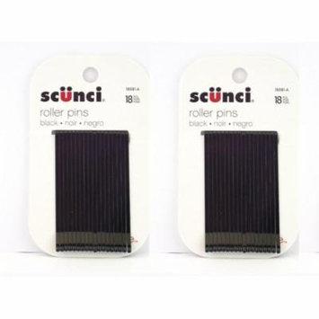 Scunci Black Roller Pins, 18 Pcs (2 Pack) + Schick Slim Twin ST for Sensitive Skin