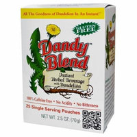 Dandy Blend, Instant Herbal Beverage With Dandelion, Caffeine Free, 25 Single Serving Pouches(pack of 4)