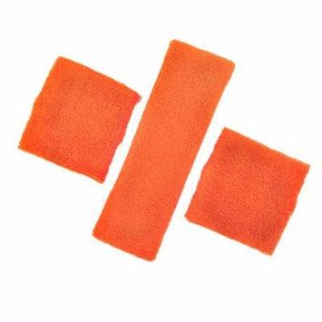 GOGO Thick Solid Color Sweatband Set (1 Headband + 2 Wristbands)-Orange