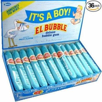 El Bubble It's A Boy Blue Bubble Gum Cigars Box (Pack of 36)