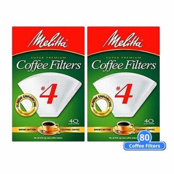 Melitta 624404 #4 White Cone Coffee Filters 80 Counts (2-Pack of 40 Counts) White Cone Coffee Filters 40 Counts