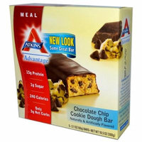 Atkins, Advantage, Chocolate Chip Cookie Dough Bar, 5 Bars, 2.1 oz (60 g) Each(pack of 3)