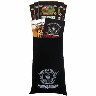 Buffalo Bills 7-Piece Low Carb Beef Jerky Sampler Black Velour Wine Gift Bag (2 carbs or less)