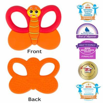 Silli Chews Baby Teethers Natural Silicone Teething Toy Butterfly Infant Pain Relief - Favorite Baby Toy Cute Holiday Gift Stocking Stuffer Idea