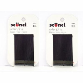 Scunci Black Roller Pins, 18 Pcs (2 Pack) + Schick Slim Twin ST for Dry Skin