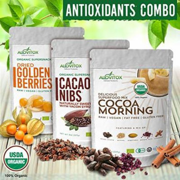 Golden Berries, Cacao Nibs and Cacao Morning Combo Box, 3 Pack