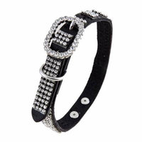 Black Leather Dog Collar with 4 Rows of High Quality Clear Rhinestones, Size Large