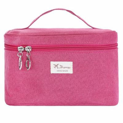 Handle Round Large Cosmetic Bag Travel Makeup Organizer Case Holder with Mirror (Rose Red)
