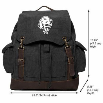 Golden Retriever Gentle Dog Vintage Canvas Rucksack Backpack with Leather Straps