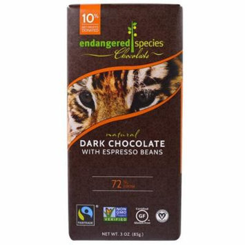 Endangered Species Chocolate, Natural Dark Chocolate with Espresso Beans, 3 oz (pack of 12)