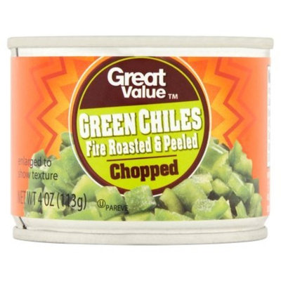 Great Value Chopped Fire Roasted & Peeled Green Chiles, 4 oz (Pack of 2)