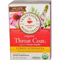 Traditional Medicinals, Seasonal Teas, Organic Throat Coat, Naturally Caffeine Free, Lemon Echinacea, 16 Wrapped Tea Bags, 1.13 oz(pack of 12)