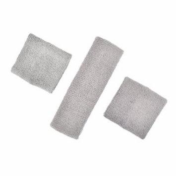 GOGO Thick Solid Color Sweatband Set (1 Headband + 2 Wristbands)-Grey