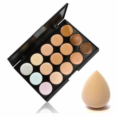 15 Color Contour Face Makeup Concealer Palette & Sponge Puff Makeup Set