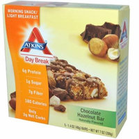 Atkins, Day Break, Morning Snack / Light BreakfastChocolate Hazelnut Bar, 5 Bars, 1.4 oz Each(pack of 6)