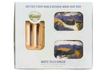 Falls River Soap Company White Tea and Ginger Soap Bar -Handmade Organic Herbal Bar with Therapeutic Essential Oils. Natural Moisturizing Body Soap for Skin and Face. With Shea Butter, Coconut Oil (GIFT SET)