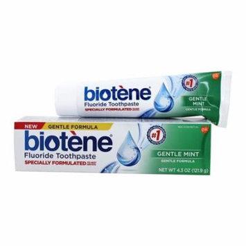 Biotene Gentle Formula Fluoride Toothpaste, Gentle Mint, 4.3 Oz, 2 Pack