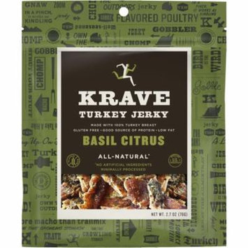 Krave 297830 2.7 oz Turkey Basil Citrus Jerky Pack of 8