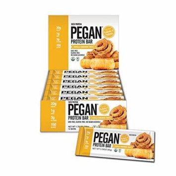 Pegan Protein Bar (Vanilla Cinn Roll) 12 Bars (20g Organic Plant Protein) (3 Net Carbs 1g Sugar)