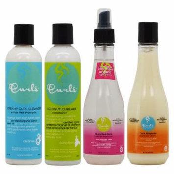 Curls Creamy Curl Cleanser & Coconut Curlada Conditioner & Quenched Curls + Curls Milkshake