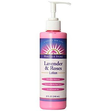 heritage store moisturizing body lotion, lavender and roses with pump, 8 ounce